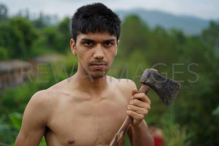 Holding an axe